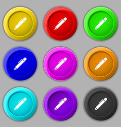 Pen icon sign symbol on nine round colourful vector