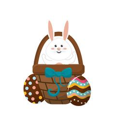 Rabbit easter inside of hamper and eggs outside vector