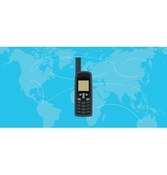 satellite phone isolated with world map as vector image vector image