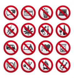 set of prohibited signs vector image