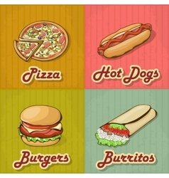 Set of retro fast food cards vector
