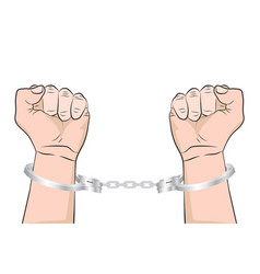 shackled hands in handcuffs man in jail prisoner vector image