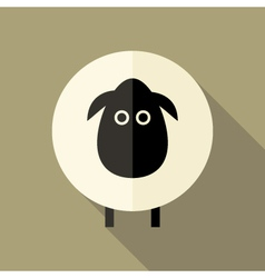 Sheep flat icon over brown vector