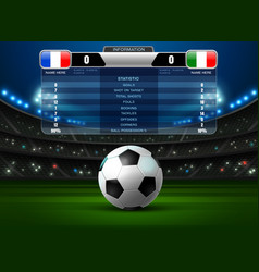 Soccer football stadium spotlight and scoreboard vector