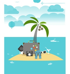 Summer seaside vacation flat vector