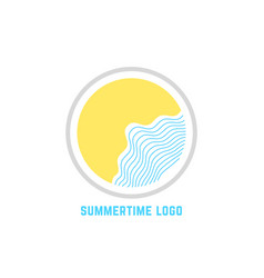 summertime logo with linear waves vector image