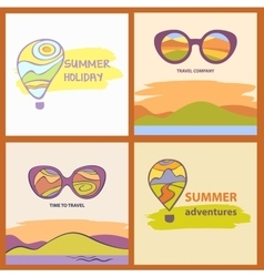 Sunglasses with reflection summer landscape vector