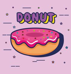 sweet donut pop art style vector image