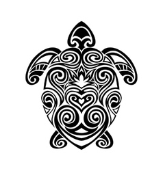 turtle in maori tattoo style vector image