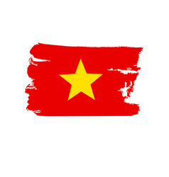 vietnamese flag painted by brush hand paints art vector image vector image