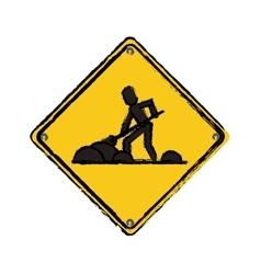 warning under construction repair sign drawing vector image