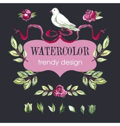 Watercolor floral set of design elements vector