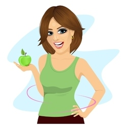 Young woman holding a green apple vector