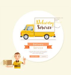Delivery truck service flat style vector
