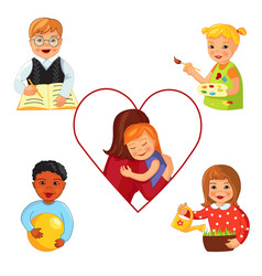 Children with down syndrome vector