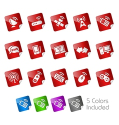 Wireless communications stickers vector