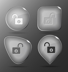 Opened lock glass buttons vector