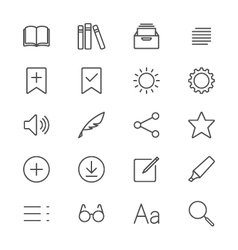 E-book reader thin icons vector