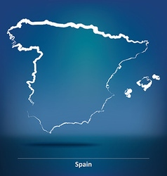 Doodle map of spain vector