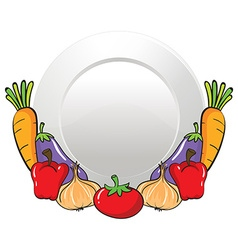 Vegetables and round plate vector