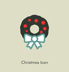 Christmas wreath icon vector