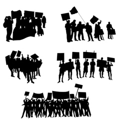 Cheering or protesting crowd silhouettes vector