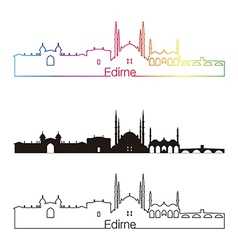Edirne skyline linear style with rainbow vector image
