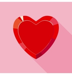 Red valentine crystal heart for gift in flat style vector