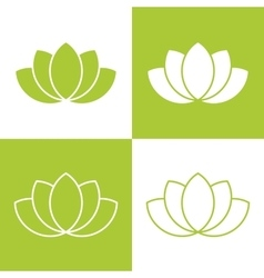 Simple green lotus plant set vector