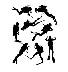 Scuba diving silhouettes vector
