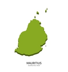 Isometric map of mauritius detailed vector