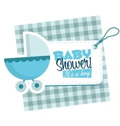 Baby boy stroller invitation card vector