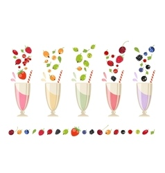 Berry milk shake isolated set vector image