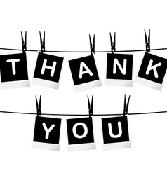 Black and white thank you card vector