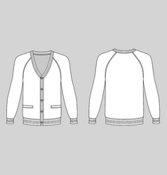 blank long sleeve raglan cardigan vector image