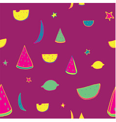 bright lovely pattern with hand drawn fruits as vector image vector image