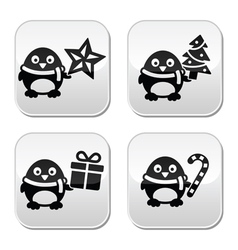 Christmas cute penguin buttons set vector