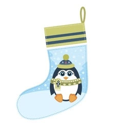 Christmas sock with penguin vector