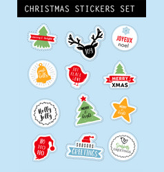 christmas winter stickers set vector image vector image