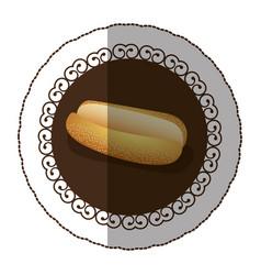 Emblem color hot dog bread icon vector