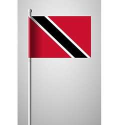Flag of trinidad and tobago on flagpole vector