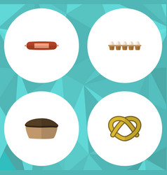 Flat icon eating set of eggshell box tart cookie vector