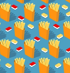 French fries in paper box seamless pattern Fast vector image vector image