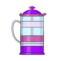 French press coffee maker icon cartoon style vector image vector image