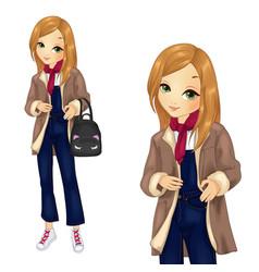 Girl in denim overalls with backpack vector
