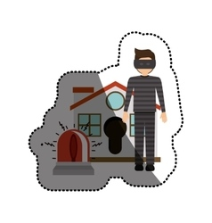 Isolated house alarm and thief design vector