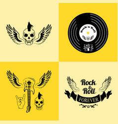 rock n roll forever skull vector image