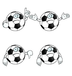 Sad cartoon football set vector image