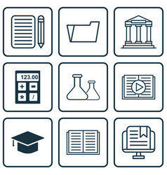 Set of 9 education icons includes home work vector