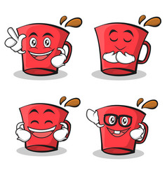 Set of red glass character cartoon vector